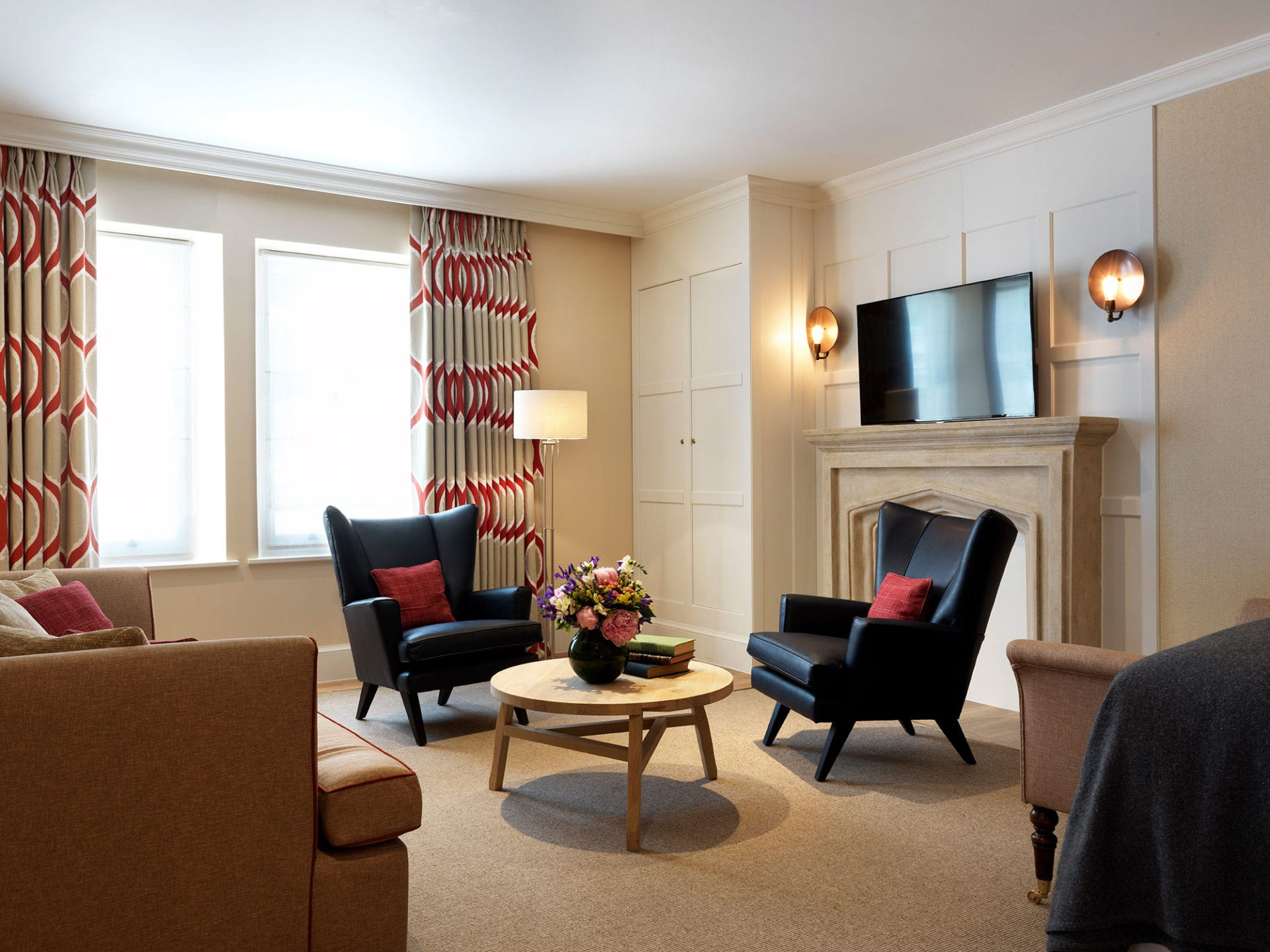Lounge area in the Gatehouse Two bedroom suite at the Stafford London Hotel